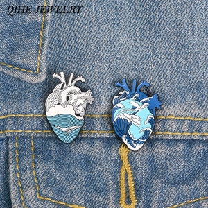 QIHE JEWELRY Ocean Wave and Whale Pin Blue Human Heart Lapel pins Anatomical Heart Enamel pin Heart Anatomy Badges(China)