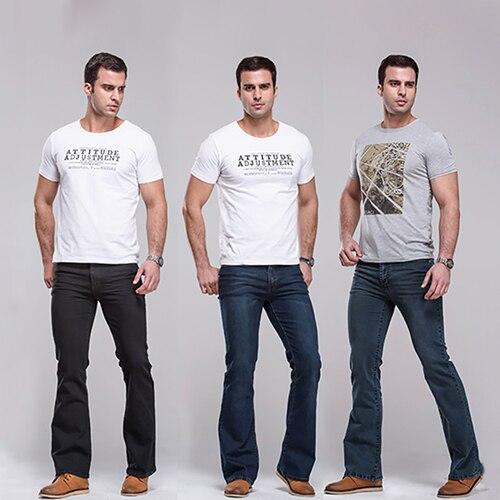 Men Classic Mid Rise Boot Cut Leg Slightly Flared Bell Bottom Jeans Denim Pants  velvet boot cut bell bottom pants
