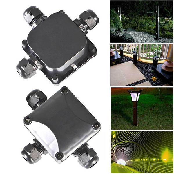 2 pcs 3 Waterproof Junction Box Outdoor Electrical Power Connector ...