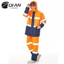 QIAN-Chaqueta de adulto Impermeable para hombre y mujer, conjunto de pantalones, Poncho de lluvia más grueso, equipo de lluvia de policía, traje de motocicleta