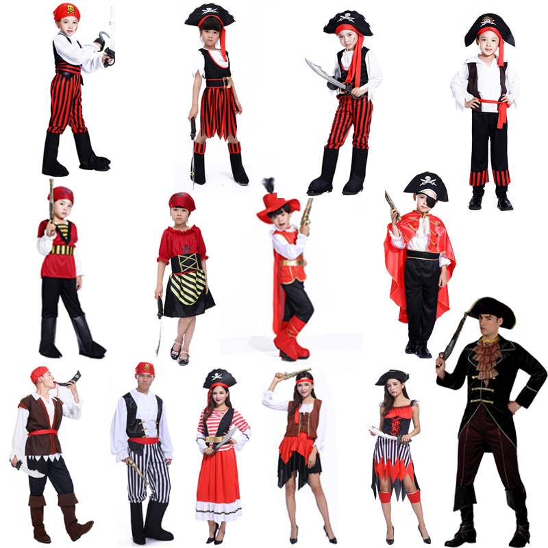 Hot 2016 new clothes men and women Pirates of the Caribbean Pirate Halloween costumes children dress costume pirate Captain Jack