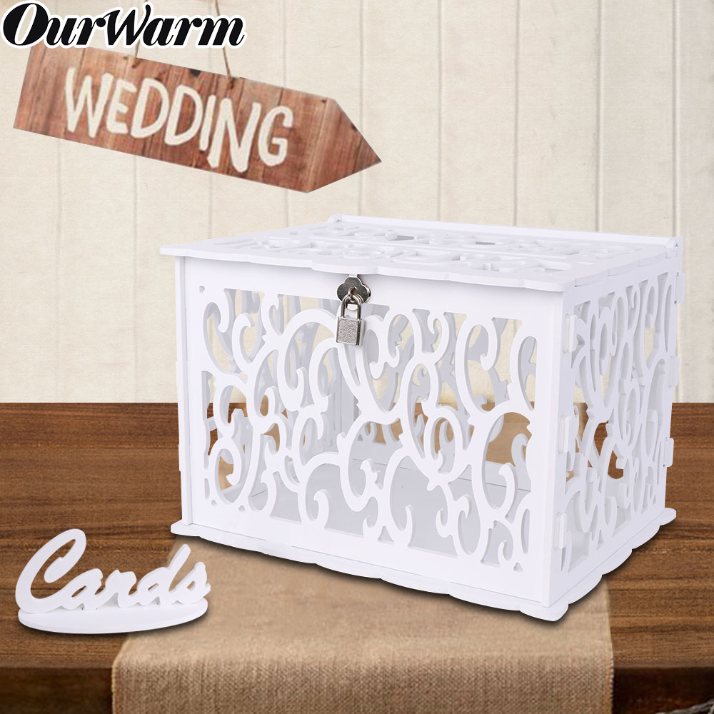 OurWarm White Wedding Card Box Birthday Party Decoration Money Box Wooden Gift Card Box With Lock Baby Shower Table Decor DIY