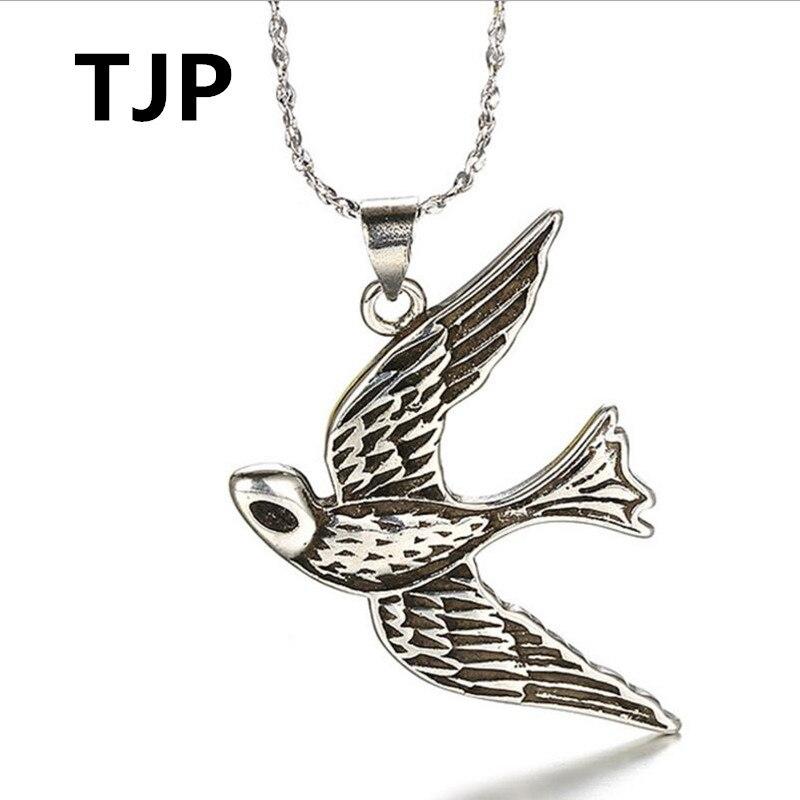 TJP Vintage Swallow Shaped Pendant Necklace Jewelry For Women Men Party Silver Choker Fashion Girl  Boy Gift