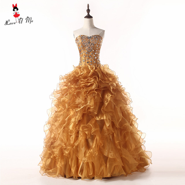 ccc61acd602 Sweet 16 Dresses Cheap Quinceanera Gowns Gold Dresses 2018 Vestido de 15  Anos Debutanta Ball Gowns Puffy Ruffles Rhinestones