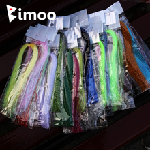 Bimoo 4 Pack Flashabou Tinsel Fly Tying Crystal Flash for Jig Hook Lure Making Material Krystal Strands Gold Silver Rainbow Pink