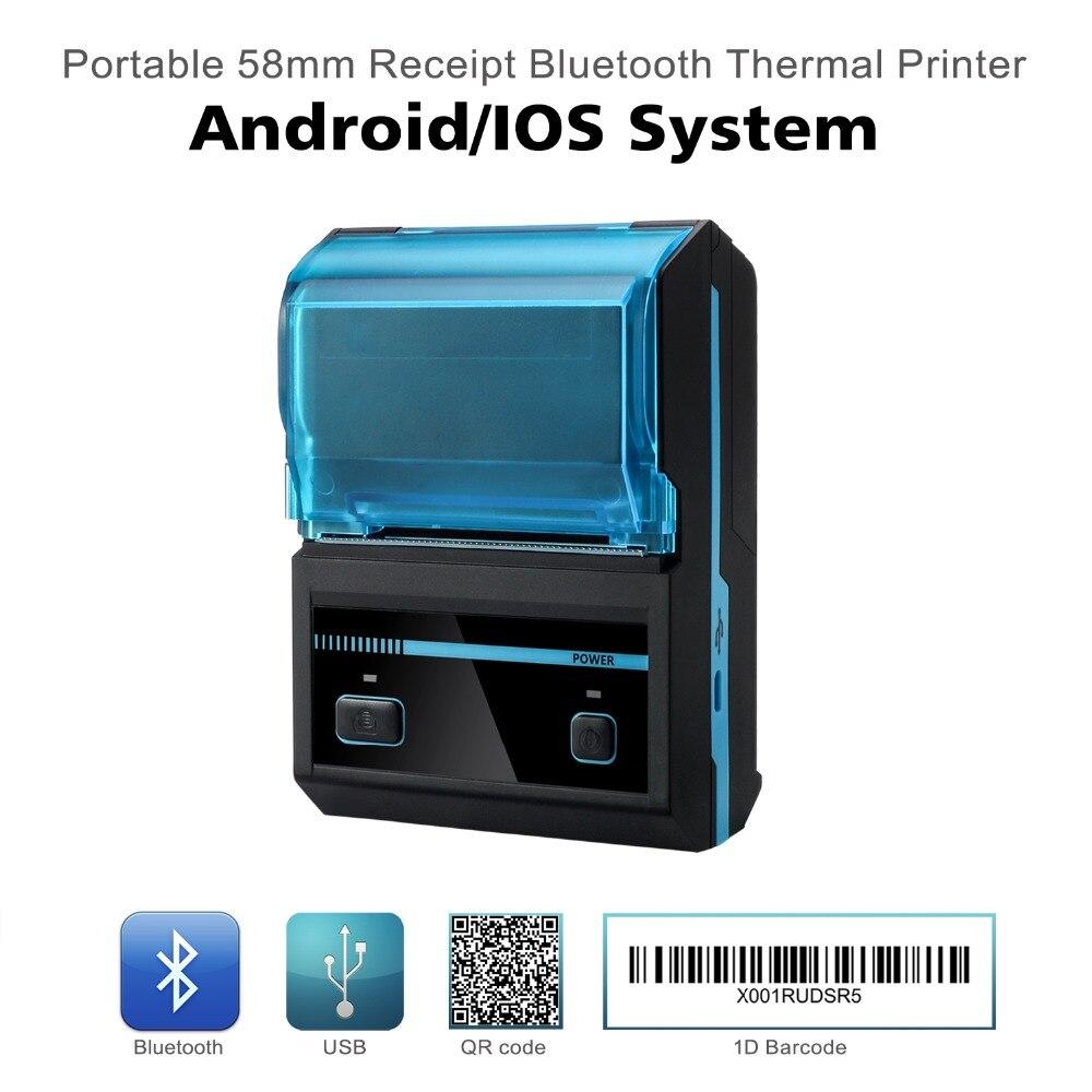 58mm tragbare bluetooth wireless drucker, mini thermische drucker für Android iOS smartphone und tablet pc mit freies SDK MHT-P5801