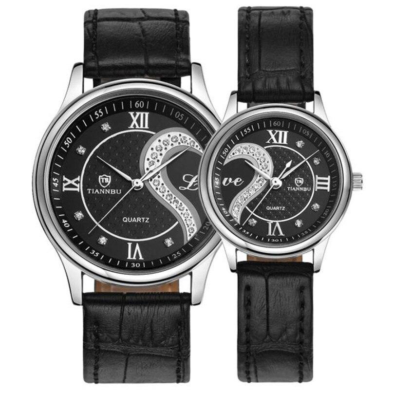 Clock Unisex 1 Pair/2pc Tiannbu Ultrathin Genuine Leather Romantic Fashion Couple Wrist Watches Comfortable High Qulity M4