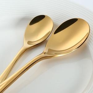 Image 2 - 5 Pcs/set Pure Gold European Dinnerware Knife 304 Stainless Steel Western Cutlery Kitchen Food Tableware Dinner Flatware Sets