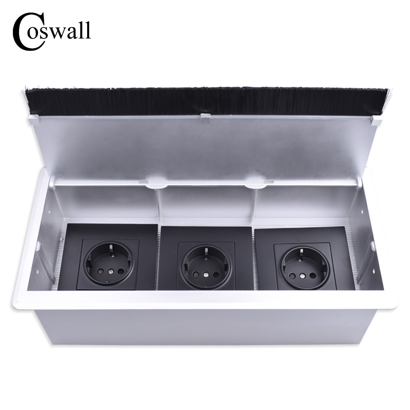 COSWALL Silver PC Table Mounting Box With Triple EU Power Outlet Table Desktop Office Socket With Dustproof Brush