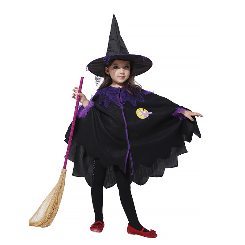 Free Shipping  Halloween Lovely Coat Cloak With Hat Cosplay Costumes Girl Party Witch Wizard Cloak Gown Robe Chirstmas