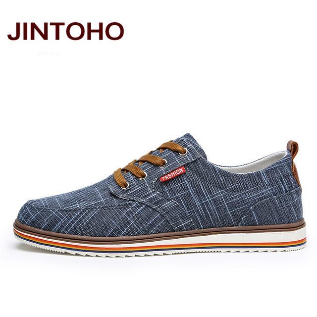 JINTOHO Big Size Breathable Mens Shoes Sales Lace Up Canvas Shoes Luxury Brand Men Shoe Designer China Cheap Shoes