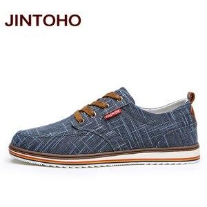 Image 4 - JINTOHO حجم كبير تنفس أحذية رجالي مبيعات الدانتيل يصل حذاء قماش العلامة التجارية حذاء رجالي مصمم الصين أحذية رخيصة