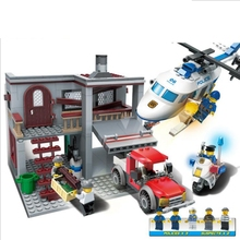 Building Block Model Police Educational Toys 10424 Compatible Brick Legoing Helicopter Big Hunting 60047 bela 10424 urban city police police guard building block toys compatible with 60047