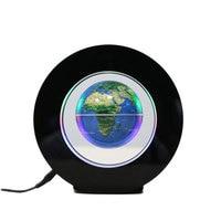 2W Magnetic Floating Globe Map Ball W LED Light Colorful Decor Gift EU Plug