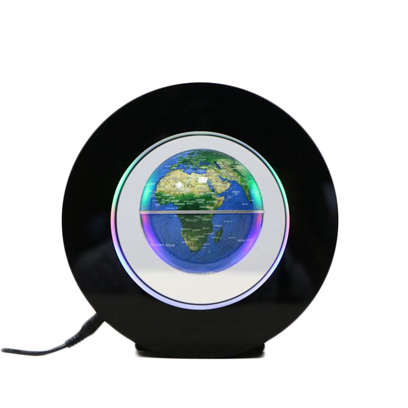 2W Magnetic Floating Globe Map Ball w/LED Light Colorful Decor Gift EU Plug 4pcs lot colorful touch senor waterproof led ball round bars table light rechargeable as led ice bucket led globe floating tray