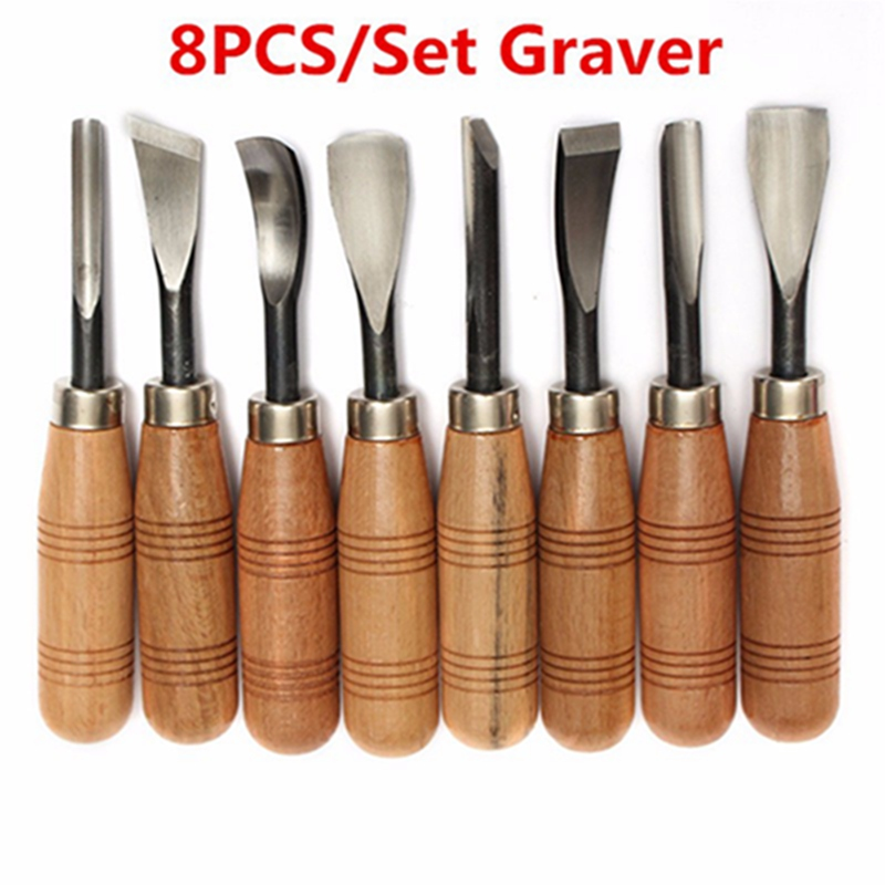 8Pcs/set Graver Chip Detail Chisel WoodWorking Carving Hand Tools Knives