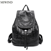 Miwind Для женщин рюкзак Настоящая кожа Рюкзаки softback Сумки Производитель мешок овчины Рюкзаки Meninas рюкзак WUB071