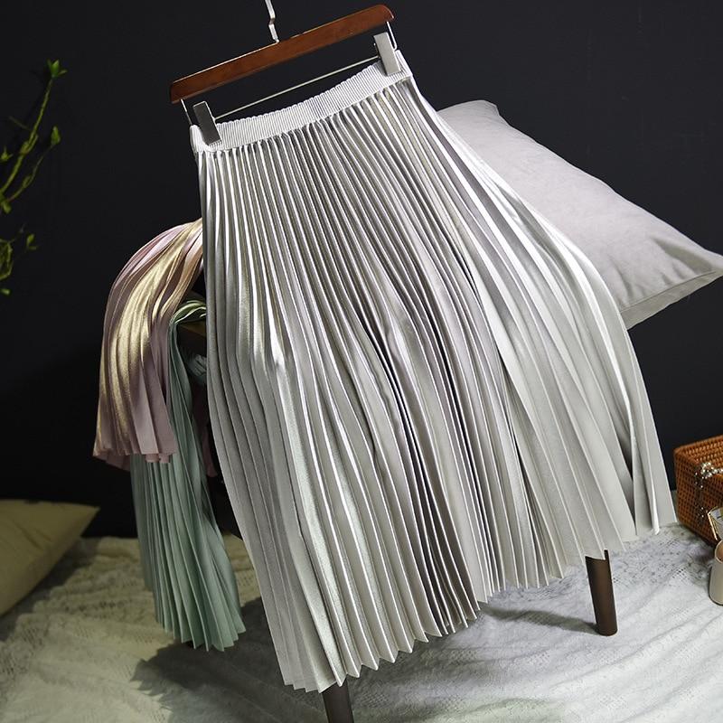 Sherhure 2018 Spring Women Long Skirts Fashion Brand A-Line Women Pleated Skirts High Waist Women Midi Skirt Faldas Mujer Saias 14