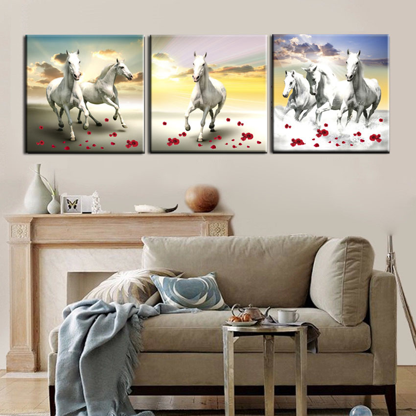 Cheap Large Frames Part - 19: Modern Large Running Horse Paintings Paint On Canvas Prints White Horses  Wall Art Picture For Home Office Decor 3 Piece No Frame