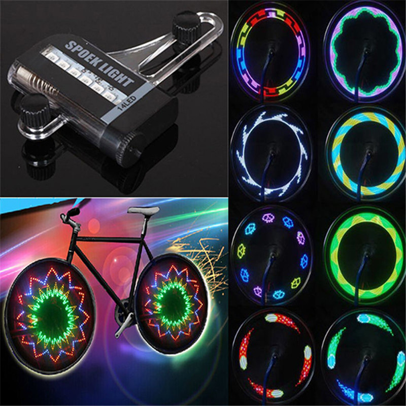 New Two Side Gofuly 14 LED Motorcycle Cycling Bicycle Bike Wheel Signal Tire Spoke Light 30 Changes Free Shipping