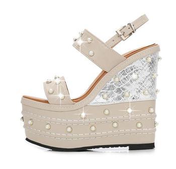 BONJEAN Super High Woman Sandals Summer White Pearls Beaded Platform Wedge Shoes Sexy Open Toe Gladiator Sandal Runway Heels