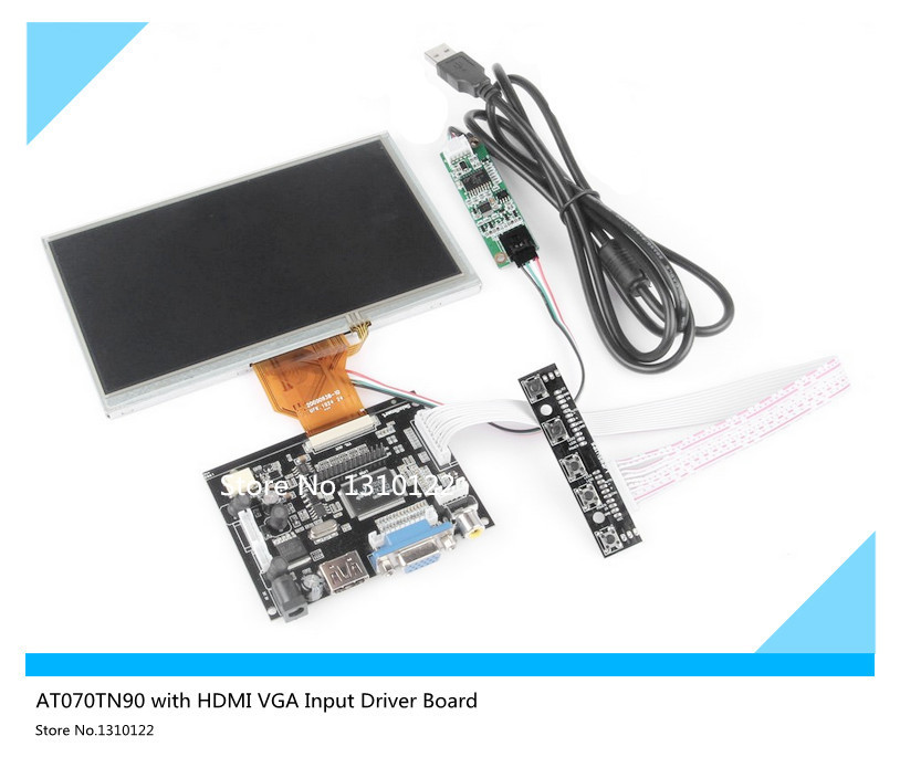 skylarpu for 7inch LCD Display Touch Screen TFT Monitor AT070TN90 with HDMI VGA Input Driver Board Controller for Raspberry Pi 12 inch 12 1 inch vga connector monitor 800 600 song machine cash register square screen lcd industrial monitor display