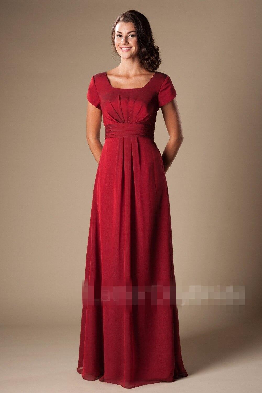 Simple rouge longue modeste robes de demoiselle d'honneur 2019 avec manches courtes en mousseline de soie étage a-ligne plage robes de fête de mariage livraison rapide