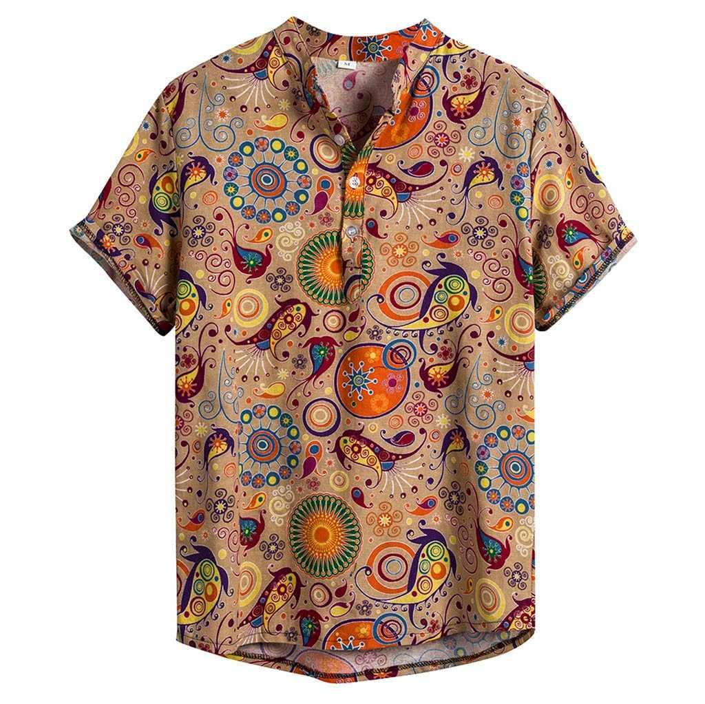 メンズエスニックリネンカジュアルカミーサ Masculina プリントビーチシャツ半袖ブランド服ハワイシャツアジアサイズ 3XL