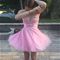 2016 Homecoming Dresses Pink Organza with Bead Sweetheart Above Knee Short Junior Girls's Graduation Gowns Custom Made Plus Size