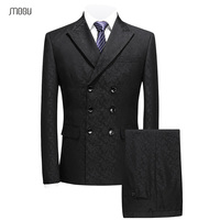 MOGU Classic Mans Suits With Three piece 2018 New Fashion Three breasted Men Black Printed Suits Wedding Suits For Man 5XL