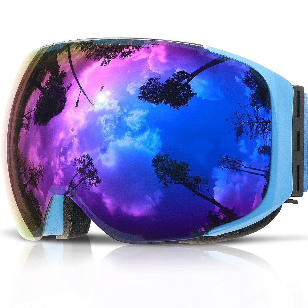 COPOZZ Magnétique Lunettes de Ski avec Interchangeables Jaune Lentille Anti-buée et UV400 Protection Snowboard Lunettes pour Adulte Hommes Femmes - 4