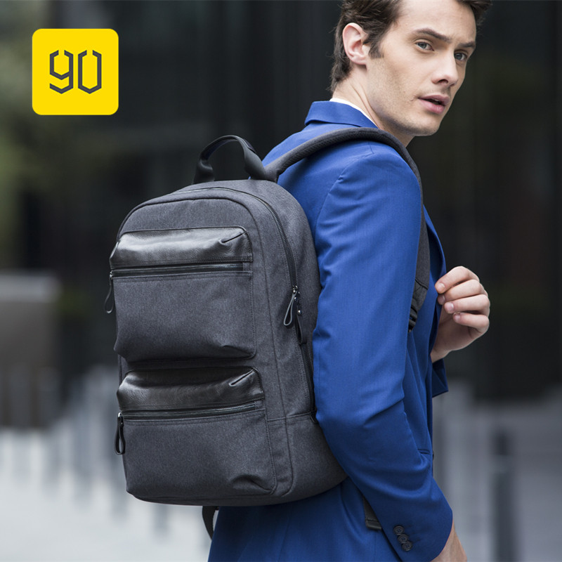 Xiaomi 90FUN Patchwork Leather Backpack Women Men Campus Business Commuting Bagpack Mochila Backpacks for 14
