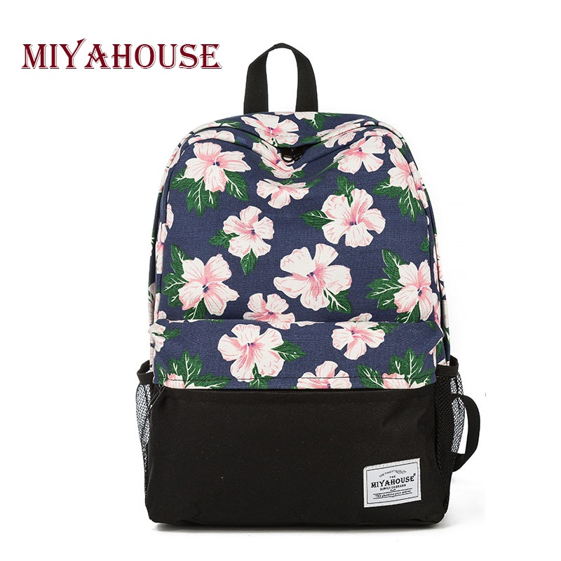 miyahouse unique printing backpack women floral bookbags canvas backpack school bag for girls