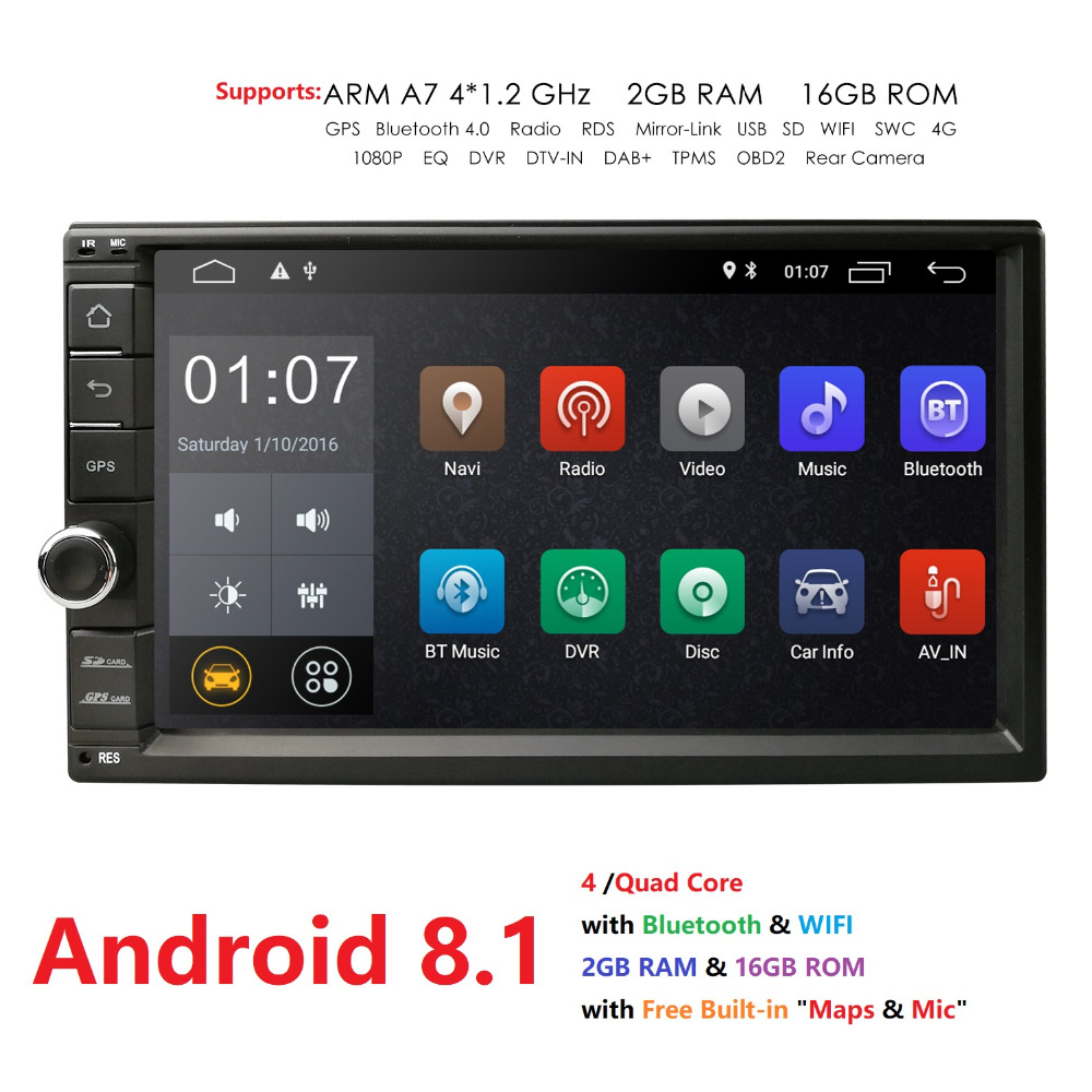 7 inç Android 8.1 Quad Core 2 din DVD Player Car Universal për 4G - Elektronikë e makinave