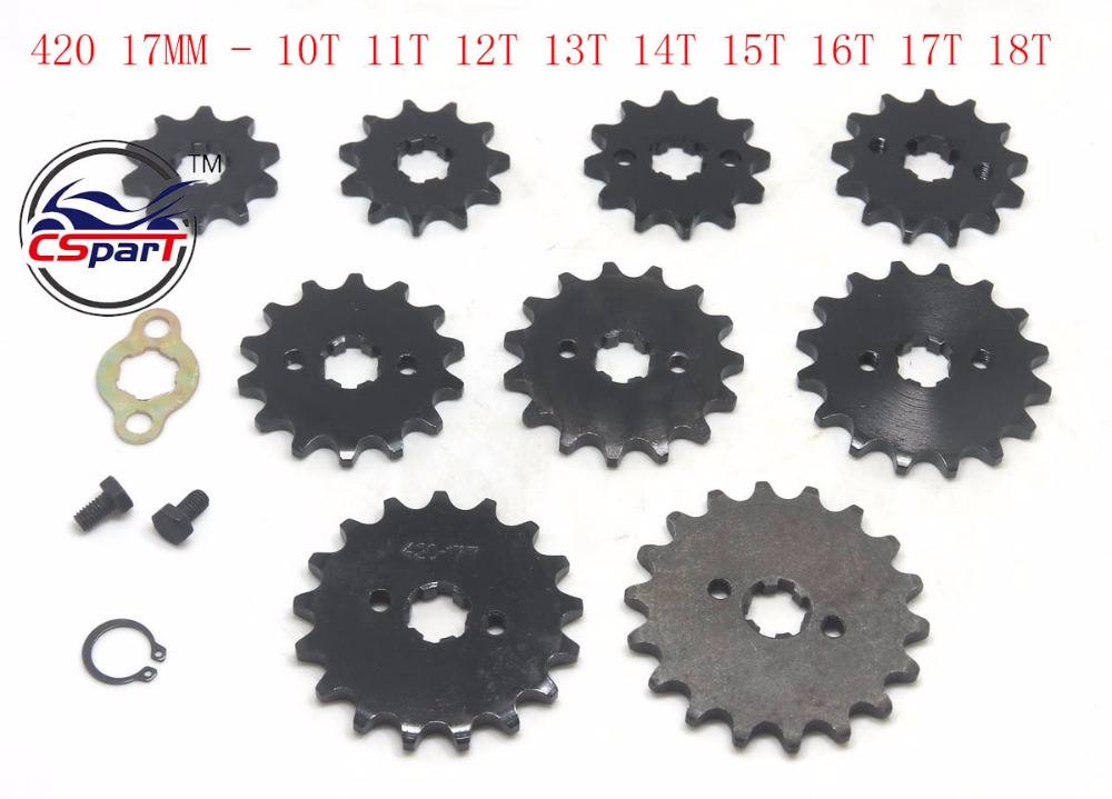 9T 10T 11T 12T 13T 14T 15T 16T 17T 18T Tooth 420 ID 17MM Front Sprocket For Honda Dirt bike Motorcycle motorcycle 530 17t 43t front