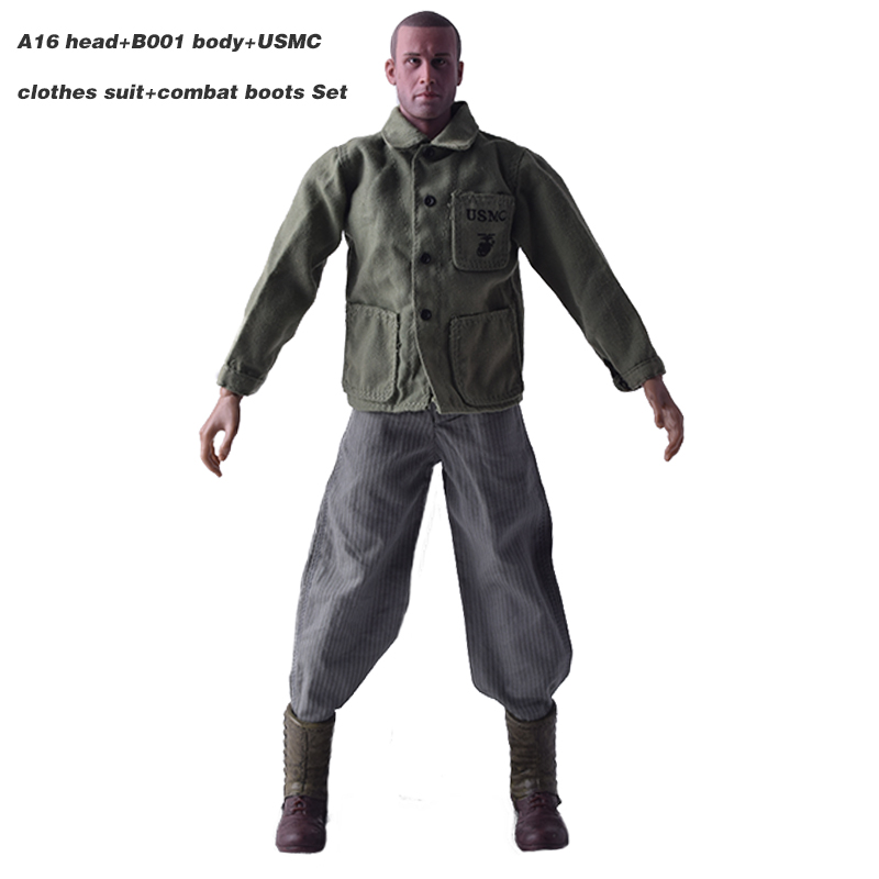 1:6th Muscular Body B001+WWII USMC Clothes Uniform+Head 1/6 Male Head Sculpt A-16+American Rangers armored combat boots Set