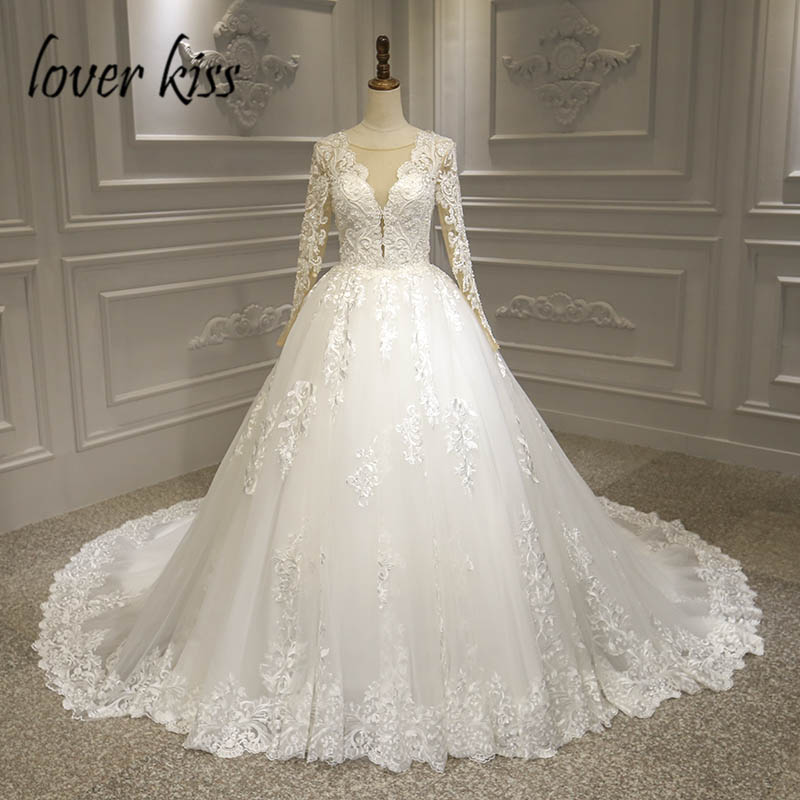 Lover Kiss Vestido De Noiva 2019 Princess Sheer V Neck Lace Long Sleeve Wedding Dress Bridal