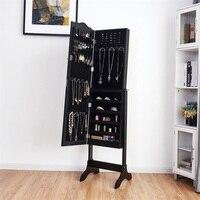 Mirrored Lockable Jewelry Cabinet Armoire Organizer Storage Box Jewelry Box Organizer Ring Stud Earrings Jewelry Container
