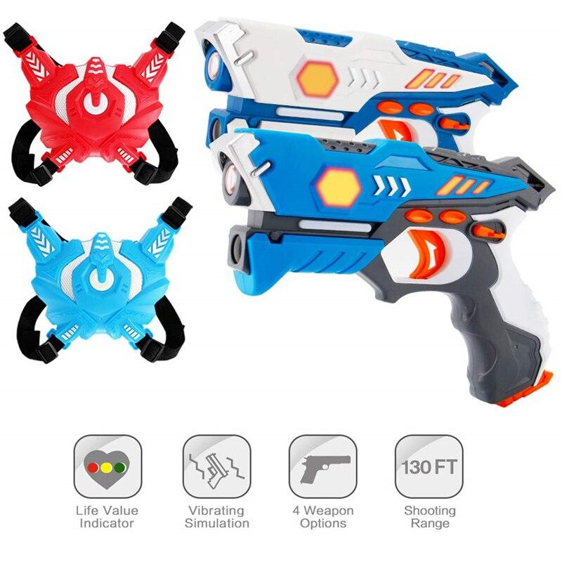 Nouvelle étiquette laser infrarouge jouet pistolet contre tir lumière intérieur et extérieur jeu cadeau enfants cadeau enfants Multiplayer-2guns + 2 gilet