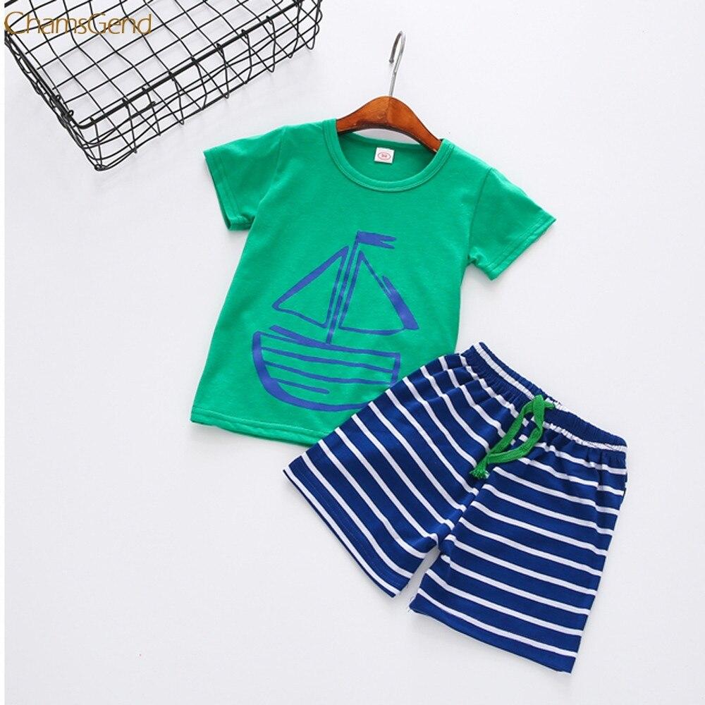 Children Clothing 1Set Summer Casual Children Kid Toddler Cartoon T-Shirt +Beach Shorts Pants oct Girls Clothes