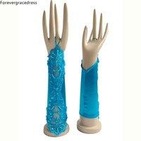 Forevergracedress Niebieski Biały Ivory Bridal Rękawiczki Bez Palców Na Ślub Panny Młodej Tanie Koronki Aplikacja Akcesoria