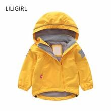 LILIGIRL Oblique Zipper Baby Kids Jacket Fleece Lining Girls Jackets Stars Hooded Boys Coat Autumn Trench Children Windbreaker