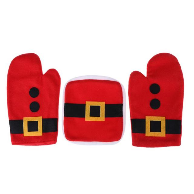 3pcs set christmas oven mitts microwave glove anti scald anti hot golves baking