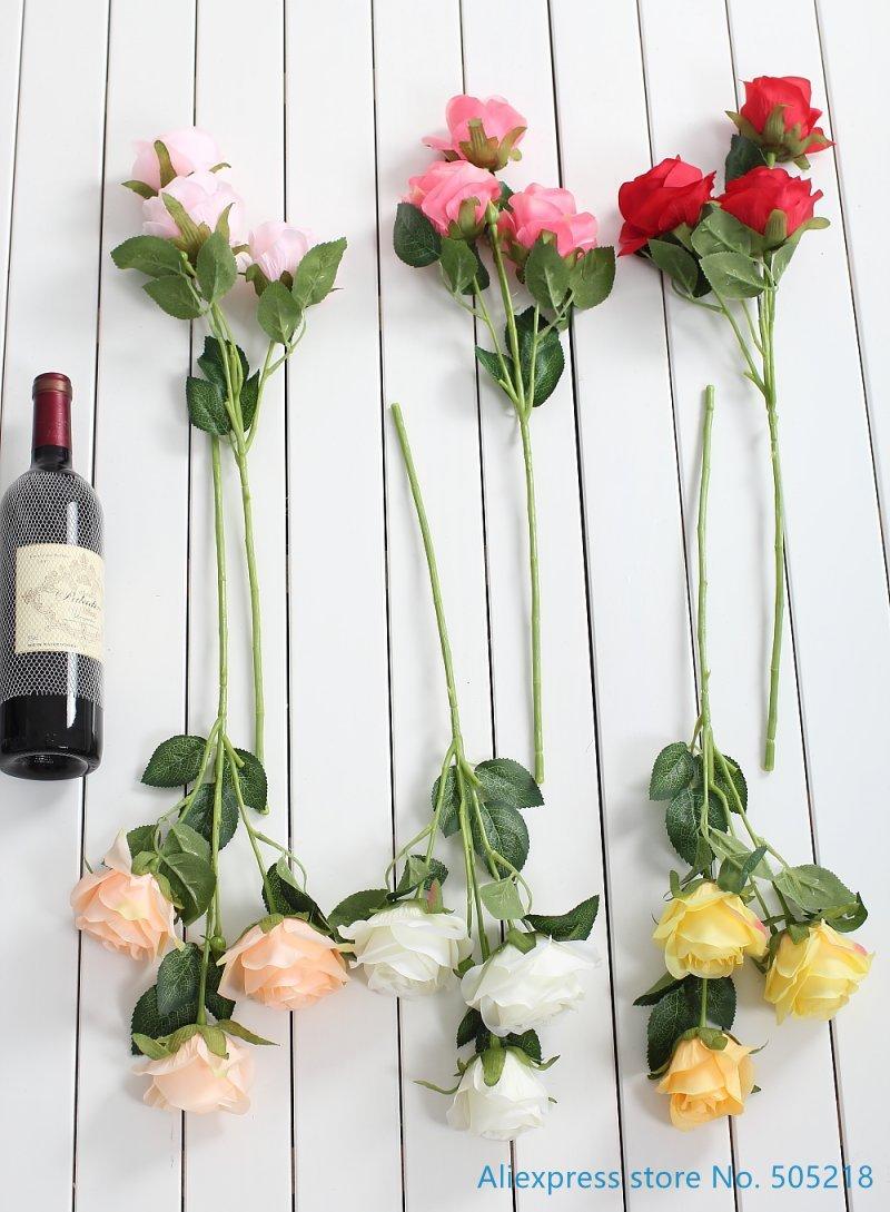 1 Pcs Beautiful Fake Artificial Flower Silk Rose Wedding Bouquet