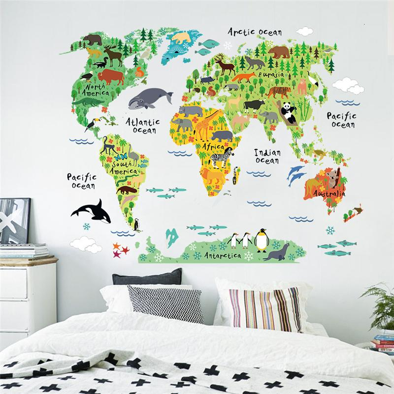 Cartoon Animals World Map Väggdekaler för Kids Room Decorations Safari Väggmålning Konst Zoo Barn Hem Dekaler Nursery Posters