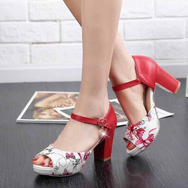 2017 elegant women sandals shoes high heels Printing Leather open toe fashion female summer shoes big
