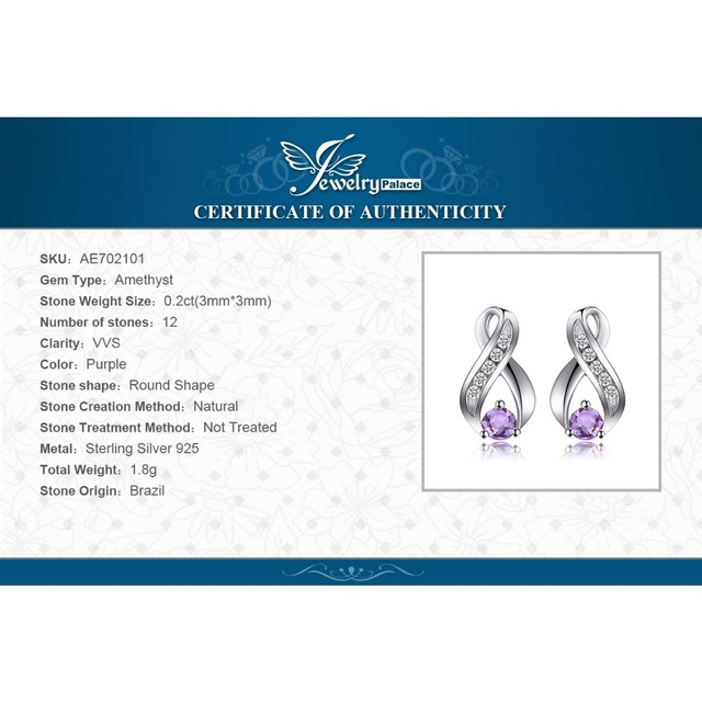 JewelryPalace Genuine Amethyst Anniversary  Earrings 100% 925 Sterling Silver Earring for Fashion Women Fine Jewelry