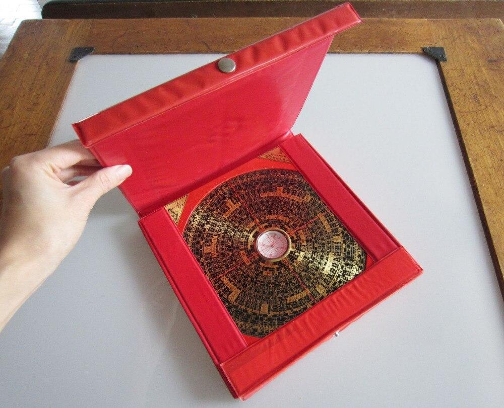 Chinois FENG SHUI Dragon métal et bois boussole magnétique en plastique rouge boîtier nouveau métal artisanat - 2