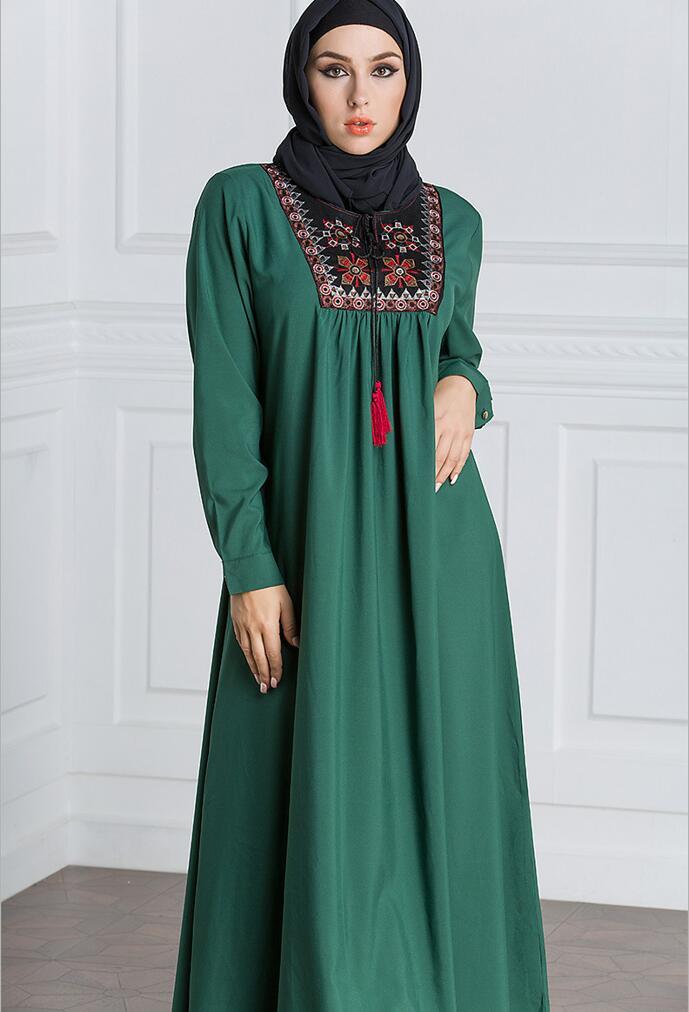 Muslim Dress Women Long Sleeve Embroidery Patchwork Abaya Loose Pakistan Free Plus Size Ethnic Arab Robe Islamic Clothing (14)