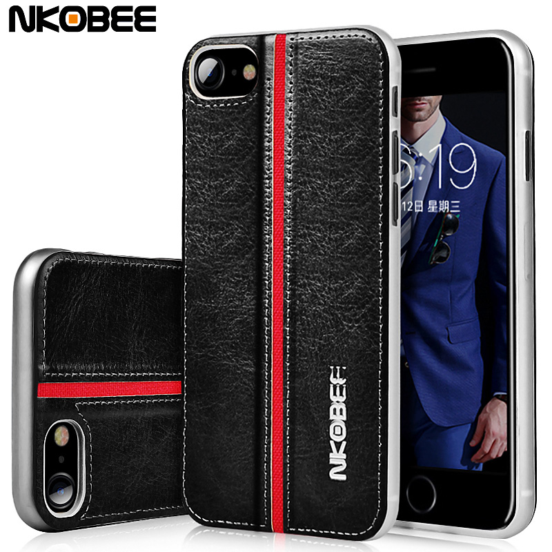 NKOBEE For iphone 7 plus case Luxury Leather Back Cover ...